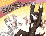 1boy 1girl ? animal_ear_fluff animal_ears arms_up black_jacket commentary_request followers gloves hat highres jacket kazana_(sakuto) long_hair long_sleeves original pants plague_doctor_mask saku_(kazana) spoken_question_mark sweater tail translation_request white_gloves white_hair wolf_ears wolf_tail yellow_eyes