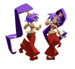 1girl arm_at_side ass blue_eyes bracer breasts character_sheet earrings eyebrows_visible_through_hair eyelashes eyes_visible_through_hair full_body harem_pants highres hoop_earrings jewelry leg_up long_hair looking_at_viewer navel official_art pants ponytail purple_hair shantae_(character) shantae_(series) shantae_5 simple_background smile solo stomach tiara trigger_(company) very_long_hair white_background