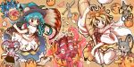 6+girls animal_ears baseball_bat blue_hair brush food fruit glasses grey_hair hat highres hinanawi_tenshi joyfull_(terrace) komeiji_koishi mouse mouse_ears mouse_tail multiple_girls nagae_iku nazrin octopus open_mouth peach ribbon shirt smile stuffed_animal stuffed_cat stuffed_toy tail takoyaki tentacles toramaru_shou touhou yorigami_shion