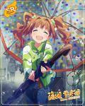 blush closed_eyes idolmaster_million_live!_theater_days jacket long_hair orange_hair smile takatsuki_yayoi umbrella