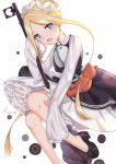 1girl abigail_williams_(fate/grand_order) bangs black_skirt blonde_hair bloomers blue_eyes bow butterfly_hair_ornament fate/grand_order fate_(series) hair_ornament heroic_spirit_chaldea_park_outfit highres holding key kumei long_sleeves looking_at_viewer maid maid_dress maid_headdress mary_janes orange_bow parted_bangs shoes skirt sleeves_past_fingers sleeves_past_wrists stuffed_animal stuffed_toy teddy_bear tentacles tied_hair underwear