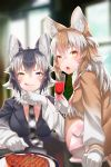 2girls absurdres ahoge alcohol animal_ears black_hair blue_eyes blush breasts brown_hair closed_eyes cup drinking_glass eyebrows_visible_through_hair fang food fur_collar gloves grey_wolf_(kemono_friends) heterochromia highres japanese_wolf_(kemono_friends) kemono_friends long_hair looking_at_viewer meat multicolored_hair multiple_girls necktie open_mouth plaid_neckwear sitting skirt smile st.takuma tail tongue two-tone_hair white_gloves white_hair wine wine_glass wolf_ears wolf_girl wolf_tail yellow_eyes