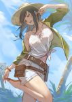 1girl bare_shoulders belt black_eyes black_hair bracelet clouds collarbone day granblue_fantasy hat highres jacket jewelry kakage long_hair looking_down oceanographer_(granblue_fantasy) open_mouth palm_tree ribbon sandals shorts sky solo sun_hat tree