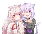 2girls ;d ahoge animal_ear_fluff animal_ears black_sweater blush cat_ears cat_tail collar fang hair_between_eyes hair_ornament hairclip hand_up highres hololive japanese_clothes kemonomimi_mode kimono lavender_hair long_hair long_sleeves looking_at_viewer miko multiple_girls nekomata_okayu nijisanji one_eye_closed open_mouth parted_lips red_eyes shiina_yuika short_hair simple_background smile sweater tail upper_body v violet_eyes virtual_youtuber white_background white_hair white_kimono wide_sleeves yuuri_nayuta