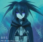 1girl asymmetrical_hair black_bikini_top black_coat black_ribbon black_rock_shooter black_rock_shooter_(character) blue_background blue_eyes blue_hair chain character_name closed_mouth copyright_name flat_chest front-tie_bikini front-tie_top hair_between_eyes highres hood hood_down long_hair looking_at_viewer ly_(pixiv13839236) ribbon scar solo spiky_hair twintails upper_body zipper