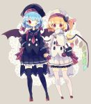 2girls :3 alternate_costume bag bangs bat_wings beret black_legwear black_skirt blonde_hair blue_hair blush cape crystal flandre_scarlet frills hair_ornament handbag hat hat_ribbon heart heart_hair_ornament highres holding_hands multiple_girls nikorashi-ka one_eye_closed pleated_skirt ponytail red_eyes red_neckwear remilia_scarlet ribbon sailor_collar side_ponytail skirt standing thigh-highs touhou white_legwear white_skirt wings
