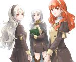 3girls book byleth byleth_(female) byleth_(female)_(cosplay) cape celica_(fire_emblem) corrin_(fire_emblem) corrin_(fire_emblem)_(female) cosplay dragon_girl earrings edelgard_von_hresvelgr_(fire_emblem) edelgard_von_hresvelgr_(fire_emblem)_(cosplay) elf female_my_unit_(fire_emblem:_fuukasetsugetsu) female_my_unit_(fire_emblem:_fuukasetsugetsu)_(cosplay) female_my_unit_(fire_emblem:_kakusei) female_my_unit_(fire_emblem_if) fire_emblem fire_emblem:_fuukasetsugetsu fire_emblem:_kakusei fire_emblem:_three_houses fire_emblem_awakening fire_emblem_echoes:_mou_hitori_no_eiyuuou fire_emblem_echoes:_shadows_of_valentia fire_emblem_fates fire_emblem_gaiden fire_emblem_heroes fire_emblem_if hair_between_eyes hair_ornament hairband human intelligent_systems jewelry kamui_(fire_emblem) long_hair looking_at_viewer mamkute multiple_girls my_unit_(fire_emblem:_fuukasetsugetsu) my_unit_(fire_emblem:_kakusei) my_unit_(fire_emblem_if) nintendo pointy_ears red_eyes redhead reflet robaco robin_(fire_emblem) robin_(fire_emblem)_(female) school_uniform silver_hair simple_background smile super_smash_bros. super_smash_bros._ultimate super_smash_bros_brawl tiara twintails uniform white_background