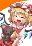 1girl ^_^ arm_at_side arm_up bangs blonde_hair blush closed_eyes commentary_request cowboy_shot cravat eyebrows_visible_through_hair facing_viewer fang flandre_scarlet frilled_shirt_collar frills hair_between_eyes happy hat hat_ribbon highres holding holding_stuffed_animal leaning_to_the_side mob_cap open_mouth orange_background pink_headwear puffy_short_sleeves puffy_sleeves red_skirt red_vest ribbon shiny shiny_hair shirt short_hair short_sleeves side_ponytail simple_background skirt skirt_set solo stuffed_animal stuffed_toy sugiyama_ichirou teddy_bear touhou two-tone_background vest white_background white_shirt wings yellow_neckwear