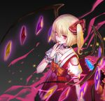 1girl :d absurdres blonde_hair blood blood_from_mouth bloody_clothes bow bunuojiang collarbone fang flandre_scarlet flower hair_between_eyes hair_bow highres jewelry long_skirt nail_polish necklace open_mouth orange_bow red_bow red_eyes red_nails red_shirt red_skirt rose shirt short_hair short_sleeves shoulder_cutout side_ponytail skirt smile solo standing touhou white_flower white_rose wings wrist_cuffs