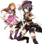 2girls arm_strap belt belt_buckle black_eyes black_gloves black_hair black_headwear black_legwear black_shorts blood blood_on_face boots brown_belt brown_hair bruise bruise_on_face buckle collar diadem fingerless_gloves gloves hat holding holding_sword holding_weapon idolmaster idolmaster_(classic) injury jewelry kaho_(ramb) kikuchi_makoto long_hair midriff minase_iori miniskirt multiple_girls navel necklace open_mouth outstretched_arm pink_skirt purple_footwear rapier shiny shiny_hair short_hair short_shorts shorts simple_background skirt sparkle stomach sword thigh-highs thigh_strap torn_boots torn_clothes torn_legwear very_long_hair weapon white_background white_gloves