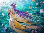 1girl bare_shoulders blurry breasts depth_of_field dress floating_hair flower hair_flower hair_ornament hairpin holding holding_flower large_breasts leaves_in_wind long_hair looking_at_viewer looking_back mo_qingxian motion_blur petals purple_hair red_flower ripples solo tassel thighs tidsean very_long_hair violet_eyes vocaloid vocanese wading water white_dress white_flower