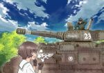 1boy 1girl =3 absurdres akiyama_yukari artist_request baneblade blouse blue_sky brown_eyes brown_gloves brown_hair character_request clenched_hands clouds cloudy_sky commentary crossover cybernetic_eye drooling girls_und_panzer gloves ground_vehicle hand_behind_head hat highres mechanical_eye messy_hair military military_uniform military_vehicle motor_vehicle neckerchief ooarai_school_uniform outdoors peaked_cap saliva school_uniform serafuku short_hair sky smile tank tree uniform warhammer_40k white_blouse