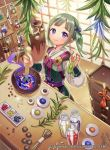 1girl animal arrow bangs bottle bow bow_(weapon) bowl chest_of_drawers closed_mouth cute eyebrows_visible_through_hair fingernails fire_emblem fire_emblem_cipher fire_emblem_fates fire_emblem_if frog green_hair hair_ribbon holding holding_animal indoors intelligent_systems japanese_clothes kimono leaf loli long_sleeves matsurika_youko midori_(fire_emblem) mushroom nintendo official_art pot puffy_long_sleeves puffy_sleeves purple_ribbon ribbon smile solo sparkle standing twintails violet_eyes watermark weapon white_kimono
