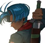 1boy arm_behind_back blue_eyes blue_hair close-up denim denim_jacket dragon_ball dragon_ball_super eyebrows_visible_through_hair face floating_hair from_behind holding holding_sword holding_weapon jacket looking_at_viewer male_focus neckerchief profile red_neckwear serious shaded_face simple_background sword tako_jirou trunks_(future)_(dragon_ball) upper_body weapon white_background