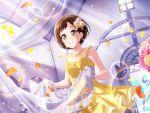 bang_dream! blush brown_eyes brown_hair dress hazawa_tsugumi short_hair smile wedding