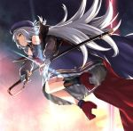 1girl azur_lane bangs bare_shoulders beret blunt_bangs breasts eyebrows_visible_through_hair gloves hat holding holding_sword holding_weapon lefthand long_hair long_sleeves looking_at_viewer off_shoulder sheath silver_hair small_breasts solo sword unsheathing very_long_hair weapon white_gloves yellow_eyes z46_(azur_lane)