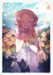 1girl abigail_williams_(fate/grand_order) artist_request bangs belt closed_eyes clouds collar damaged fate/grand_order fate_(series) flower hand_on_own_chest hat highres open_mouth parted_bangs petals rose rose_petals sky smile stuffed_animal stuffed_dog stuffed_toy stuffing yellow_flower