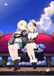 2girls 4others :d ;) aizawa_azusa ankle_boots bangs bare_shoulders benio_(dontsugel) black_dress black_gloves blonde_hair blue_eyes blush boots braid choker closed_eyes clouds cloudy_sky couch cravat demon_girl demon_tail dress drill_hair eyebrows_visible_through_hair full_body gloves hair_between_eyes hands_on_own_cheeks hands_on_own_face happy highres horns juliet_sleeves long_hair long_sleeves multiple_girls multiple_others one_eye_closed open_mouth outdoors parted_bangs petticoat provato_pecora_aries puffy_sleeves shoes short_hair sitting skirt sky slime slime_taoshite_300_nen_shiranai_uchi_ni_level_max_ni_nattemashita smile tail very_long_hair waist_cape wool