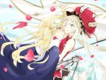 2girls 66ta1yak1 bare_shoulders black_skirt blonde_hair blue_cape blue_eyes blush cape commentary fate/apocrypha fate/grand_order fate_(series) flag frown gauntlets gloves hand_on_another's_shoulder headpiece highres holding holding_flag jeanne_d'arc_(fate) jeanne_d'arc_(fate)_(all) large_hat long_hair looking_at_another marie_antoinette_(fate/grand_order) multiple_girls one_eye_closed open_mouth petals red_gloves red_headwear red_shirt shirt skirt sleeveless smile sweat very_long_hair yuri