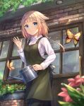 1girl apron bangs blonde_hair blue_eyes blurry_foreground blush braid bug building butterfly cevio coffee_tart collared_shirt condensation day denim dress green_apron hair_flaps highres holding_watering_can insect jeans long_hair looking_at_viewer one_(cevio) outdoors pants plant potted_plant shirt single_braid smile solo white_shirt window