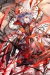 blush eyebrows fang flower hat hat_flower highres lavender_hair looking_away mob_cap open_mouth puffy_short_sleeves puffy_sleeves red_eyes red_nails remilia_scarlet short_hair short_sleeves smile teeth touhou white_headwear wings ze_xia