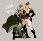 3boys absurdres boots brown_hair chest cosplay epaulettes fate/grand_order fate_(series) glasses highres kendy_(revolocities) long_sleeves male_focus multiple_boys muscle napoleon_bonaparte_(fate/grand_order) original pectorals robin_hood_(fate) scar simple_background smile uniform
