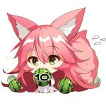 1girl animal_ear_fluff animal_ears bangs barefoot chibi commentary_request covered_mouth dress eyebrows_visible_through_hair flying_sweatdrops food fox_ears fox_girl fox_tail fruit green_eyes hair_between_eyes holding holding_food long_hair long_sleeves original pink_hair sidelocks simple_background sitting solo tail tail_raised very_long_hair watermelon white_background white_dress wide_sleeves yuuji_(yukimimi)
