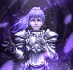 1girl armor bangs blue_eyes cave dark hair hands_up leaves leaves_in_wind long_hair looking_at_viewer original ponytail purple_gloves purple_hair smile solo standing stevegrey tagme