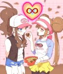 ankea_(a-ramo-do) bangs baseball_cap black_legwear black_vest black_wristband blue_eyes blush brown_hair chocolate chocolate_heart closed_eyes cutoffs denim denim_shorts double_bun eating feeding hair_between_eyes happy hat heart highres infinity mei_(pokemon) pantyhose pink_background pokemon pokemon_(game) pokemon_bw pokemon_bw2 ponytail shorts smile touko_(pokemon) valentine vest visor yellow_shorts yuri