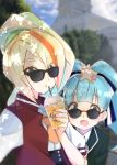 2girls :o aqua_hair bangs black_jacket blonde_hair blue_ribbon blue_sky blunt_bangs blurry blurry_background building clouds cloudy_sky commentary_request cup dappled_sunlight day depth_of_field disposable_cup dress_shirt drinking_straw eyebrows_visible_through_hair eyes_visible_through_hair hair_ornament hair_over_one_eye hair_ribbon highres holding holding_cup hoshikawa_lily jacket letterman_jacket long_hair looking_at_viewer looking_over_eyewear multicolored_hair multiple_girls neckerchief nikaidou_saki open_clothes open_jacket open_mouth orange_neckwear outdoors parted_lips ponytail red_jacket ribbon shirt sky smile standing star star_hair_ornament streaked_hair sunglasses sunlight toon_(noin) twintails white_shirt zombie_land_saga