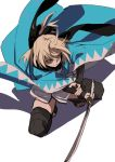 1girl black_legwear blonde_hair bow fate_(series) fu-ta hair_bow holding holding_sword holding_weapon katana koha-ace okita_souji_(fate) okita_souji_(fate)_(all) sandals shadow shinsengumi simple_background solo spread_legs squatting sword thigh-highs weapon white_background yellow_eyes