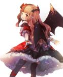 1girl :d bangs bat_wings black_legwear black_skirt black_wings blunt_bangs blush brown_hair character_request chromatic_aberration commentary_request cryptract detached_sleeves eyebrows_visible_through_hair fang fingerless_gloves fingernails frilled_skirt frills gloves highres kikka_(kicca_choco) long_hair looking_at_viewer looking_back multicolored_hair nail_polish open_mouth pantyhose puffy_short_sleeves puffy_sleeves red_eyes red_nails red_shirt red_sleeves redhead shirt short_sleeves simple_background skirt sleeveless sleeveless_shirt smile solo streaked_hair two-tone_hair very_long_hair white_background white_gloves wings
