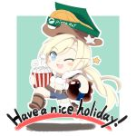 1girl blonde_hair blue_eyes boots chibi cola colt_m1873_(girls_frontline) commentary_request country_connection cowboy cowboy_hat english_text eyebrows_visible_through_hair food fourth_of_july girls_frontline hat highres kulettula one_eye_closed open_mouth pepsi pizza pizza_box pizza_hut popcorn sheriff_badge soda_bottle solo western