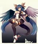 1girl alder asymmetrical_wings bangs belt black_legwear black_panties blue_hair boots breasts character_name commentary_request dizzy feathered_wings full_body gradient gradient_background guilty_gear hair_between_eyes hair_ribbon hair_rings highres long_hair long_sleeves looking_at_viewer medium_breasts panties red_eyes ribbon simple_background smile solo tail tail_ribbon touhou twintails underwear very_long_hair white_footwear wide_sleeves wings yellow_ribbon