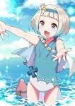 1girl blue_hair blue_sky clouds day fire_emblem fire_emblem_heroes flower gradient_hair hair_flower hair_ornament hairband leg_up multicolored_hair one-piece_swimsuit open_mouth outdoors outstretched_arms riki_my_p sandals short_hair sky solo swimsuit violet_eyes wading water white_hair ylgr_(fire_emblem)