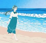 1girl alternate_costume barefoot beach blouse blue_sky bow full_body gradient_sky green_bow green_eyes green_hair green_skirt hair_bow hair_ribbon highres horizon irako_(kantai_collection) kantai_collection long_hair long_skirt long_sleeves ocean ojipon ponytail ribbon skirt sky solo walking waves white_blouse