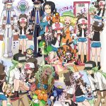 2girls 5boys audino bag baseball_cap bel_(pokemon) black_hair black_vest blonde_hair blue_eyes blush brown_hair carrying cheren_(pokemon) commentary cowboy_shot curly_hair denim denim_shorts exposed_pocket geechisu_(pokemon) gen_5_pokemon glasses green_eyes green_hair grey_eyes grey_hair hat high_ponytail highres joltik kudari_(pokemon) leaning_forward lilligant long_hair mirror multiple_boys multiple_girls n_(pokemon) nobori_(pokemon) oshawott pignite pokemoa pokemon pokemon_(creature) pokemon_(game) pokemon_bw pokemon_bw2 ponytail princess_carry red-framed_eyewear red_eyes round_teeth shirt short_shorts shorts shoulder_bag sidelocks sleeveless sleeveless_shirt smile snivy standing tank_top teeth tepig touko_(pokemon) translated tympole v vest white_hair woobat wristband