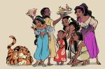 6+girls age_difference aladdin_(disney) animal arm_support arms_behind_back baggy_pants bare_shoulders barefoot beige_background black_eyes black_hair blue_footwear blue_hairband brown_footwear collarbone color_connection commentary_request company_name curly_hair dark_skin diadem disney dress earrings egyptian_clothes esmeralda_(disney) finger_to_mouth flower food gori_matsu hair_flower hair_ornament hairband hand_on_hip hands_on_another's_back hibiscus highres holding holding_tray hoop_earrings index_finger_raised jasmine_(disney) jewelry kneeling leaf_print leaning_forward lilo_&_stitch lilo_pelekai lipstick long_hair looking_at_another looking_back looking_down looking_up makeup midriff moana_(movie) moana_waialiki multiple_girls necklace pants parted_lips plumeria pocahontas pocahontas_(disney) ponytail profile purple_hairband rajah_(disney) red_dress red_flower red_lips red_lipstick sandals scolding shadow shiny shiny_skin simple_background skirt straight_hair strapless the_hunchback_of_notre_dame the_princess_and_the_frog tiana_(the_princess_and_the_frog) tiger trait_connection tray tubetop white_flower yellow_dress