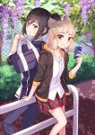 2girls animal_ears back-to-back bag black_hair brown_eyes casual cat_ears cellphone chain-link_fence collared_shirt contemporary fence flower holding holding_bag jacket lilac looking_at_viewer looking_back meleph_(xenoblade) multiple_girls niyah pants phone plaid plaid_skirt plant runeko shirt skirt smartphone smile white_shirt xenoblade_(series) xenoblade_2