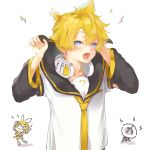 1boy 1girl :3 antennae arm_warmers bass_clef blonde_hair blue_eyes blush chibi collar commentary hands_up headphones headphones_around_neck highres holding_collar kagamine_len kagamine_rin lightning_bolt looking_at_viewer necktie open_mouth oyamada_gamata sailor_collar school_uniform shirt short_hair short_sleeves spiky_hair vocaloid white_shirt yellow_neckwear