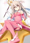 1girl absurdres blonde_hair blush boots breasts commentary_request dress elbow_gloves eyebrows_visible_through_hair fate/kaleid_liner_prisma_illya fate_(series) gloves hair_between_eyes hair_ornament highres holding holding_staff illyasviel_von_einzbern long_hair looking_at_viewer magical_girl medium_breasts nanakaku pink_dress pink_footwear red_eyes sitting sleeveless sleeveless_dress smile solo staff star thigh-highs thigh_boots white_gloves