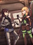 2girls :d :o absurdres armor arrow artist_name bandaged_arm bandages bangs belt black_gloves blonde_hair blue_eyes bow_(weapon) braid brown_eyes brown_hair chainmail commentary commission dutch_angle elbow_gloves elf english_commentary gauntlets gloves greaves hair_between_eyes hand_on_hilt helm helmet highres indoors knight long_hair low_ponytail message_board multiple_girls open_mouth original ovosh147 pointy_ears quiver sheath sheathed shoulder_armor side_braid single_braid single_bridal_gauntlet single_elbow_glove smile sword weapon