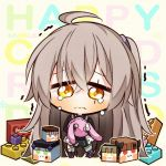 1girl 7:08 ahoge bag bangs black_dress brown_hair chibi crossed_bangs crying crying_with_eyes_open dress eyebrows_visible_through_hair girls_frontline grey_legwear hair_between_eyes highres holding holding_bag lego long_hair looking_at_viewer one_side_up purple_footwear scar scar_across_eye side_ponytail tears ump45_(girls_frontline) yellow_eyes younger