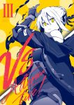1girl arm_up artoria_pendragon_(all) bangs bare_shoulders braid coat commentary_request cover cover_page cowboy_shot doujin_cover duffel_coat english_text fate/grand_order fate_(series) from_side gloves hair_between_eyes hair_bun hair_ornament hair_ribbon halftone highres holding holding_sword holding_weapon limited_palette long_sleeves looking_at_viewer mysterious_heroine_x_(alter) off_shoulder open_clothes open_coat open_mouth parted_lips partially_colored ribbon short_hair sidelocks solo spot_color standing sword tsukamoto_minori vambraces weapon yellow_background yellow_eyes
