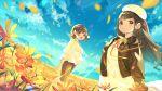 2girls :d beret blue_sky blush brown_eyes brown_hair brown_jacket brown_shorts closed_mouth clouds cloudy_sky commentary_request day dress dutch_angle field floating_hair flower flower_field hat highres hood hood_down hooded_jacket ikari_(aor3507) jacket long_hair long_sleeves multiple_girls neck_ribbon open_clothes open_jacket open_mouth original outdoors petals red_ribbon ribbon shorts sky smile standing very_long_hair white_dress white_headwear wind yellow_flower