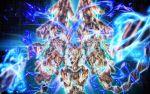 aura blue_fire fire glowing graphite_(medium) gundam gundam_narrative highres mecha millipen_(medium) no_humans nt-d shield traditional_media unicorn_gundam_phenex uungunover