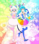 2girls aqua_hair boots braid brown_eyes cure_cosmo fuwa_(precure) highres multicolored_hair multiple_girls personification pink_hair precure star_twinkle_precure thigh-highs thigh_boots user_sktu5885 yuni_(precure)