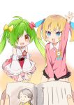 2girls :d absurdres ahoge amaryllis_gumi bangs black_skirt blonde_hair blue_eyes blue_ribbon blush blush_stickers book bow brown_eyes character_request collared_shirt detached_sleeves eyebrows_visible_through_hair fang fingernails green_hair hair_bow hair_over_one_eye hair_ribbon highres japanese_clothes kimono kindergarten_uniform kotohara_hinari long_hair long_sleeves multiple_girls no_shoes open_book open_mouth out_of_frame pink_skirt pleated_skirt red_bow red_skirt ribbon ribbon-trimmed_sleeves ribbon_trim round_teeth shirt skirt sleeveless sleeveless_kimono smile socks striped striped_legwear tama_(tama-s) teeth twintails upper_teeth v-shaped_eyebrows vertical-striped_legwear vertical_stripes very_long_hair white_kimono white_legwear white_sleeves wide_sleeves yellow_bow