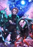 1boy 1girl black_hair black_jacket black_pants brother_and_sister brown_hair checkered cherry_blossoms david_lee floating_hair full_moon haori highres jacket japanese_clothes kamado_nezuko kamado_tanjirou katana kimetsu_no_yaiba long_hair long_sleeves looking_at_viewer military_jacket moon multicolored_hair night night_sky outdoors pants redhead sheath sheathed short_hair siblings sky sword two-tone_hair very_long_hair weapon