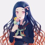 1girl absurdres black_hair black_sailor_collar black_serafuku black_shirt fingernails floating_hair food green_neckwear grey_background hair_ribbon highres holding holding_food ice_cream kamado_nezuko kimetsu_no_yaiba long_hair long_sleeves mmn2001 multicolored_hair neckerchief open_mouth pink_eyes pink_ribbon redhead ribbon sailor_collar school_uniform serafuku sharp_fingernails shirt simple_background solo two-tone_hair upper_body very_long_hair